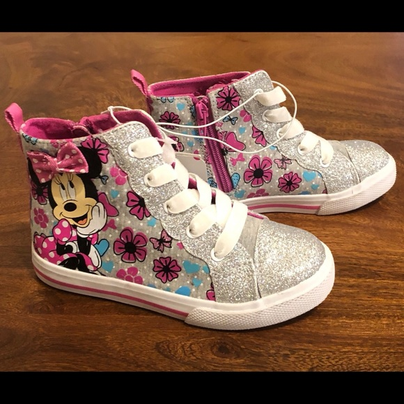 Disney Minnie Mouse High Hi Tops Sneakers Select a Size Baby//Toddler Shoes NEW!